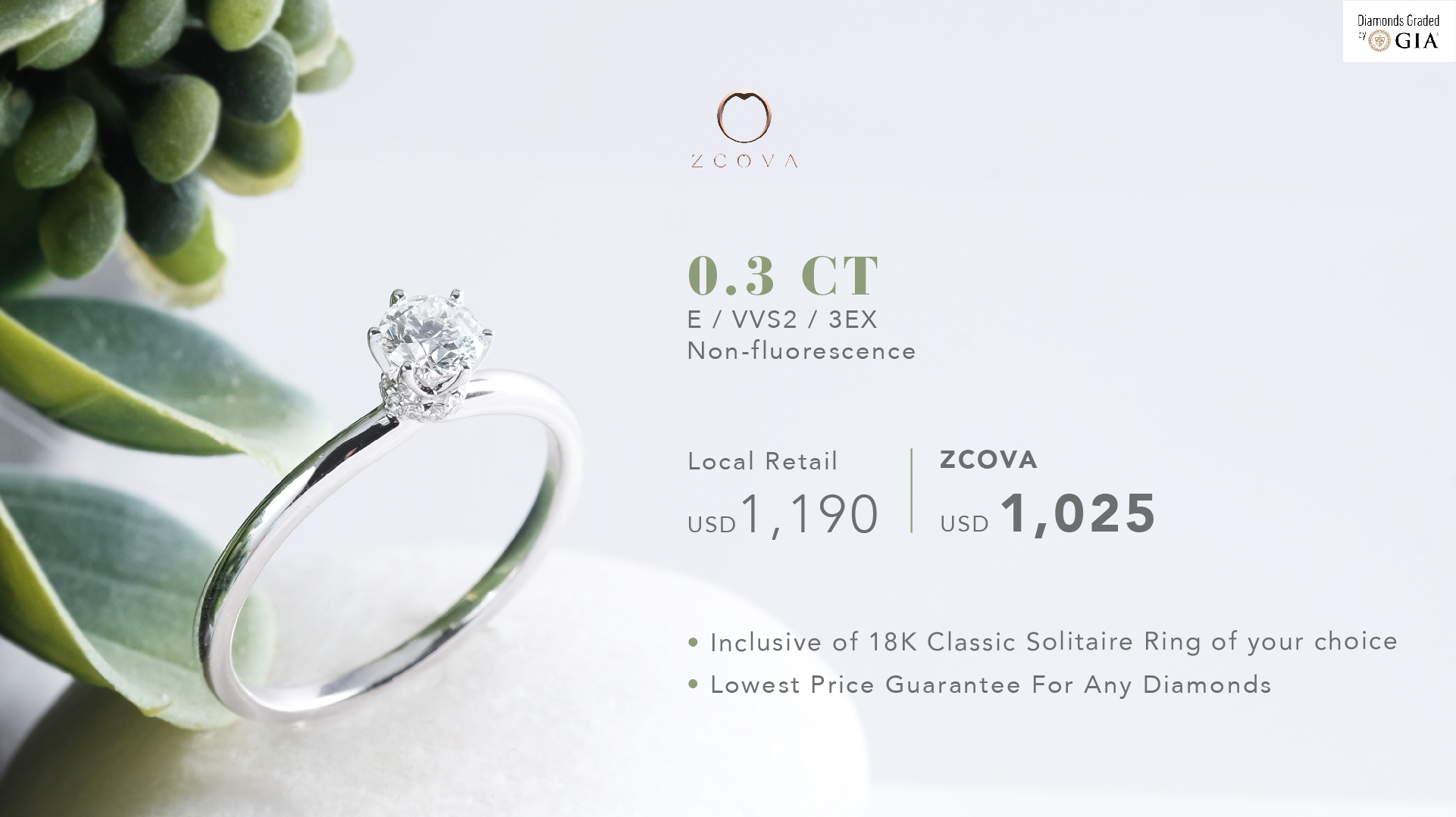 ZCOVA 0.3ct Engagement Ring Promotion