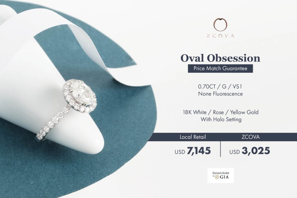 ZCOVA 0.7ct Halo Oval Engagement Ring Promotion