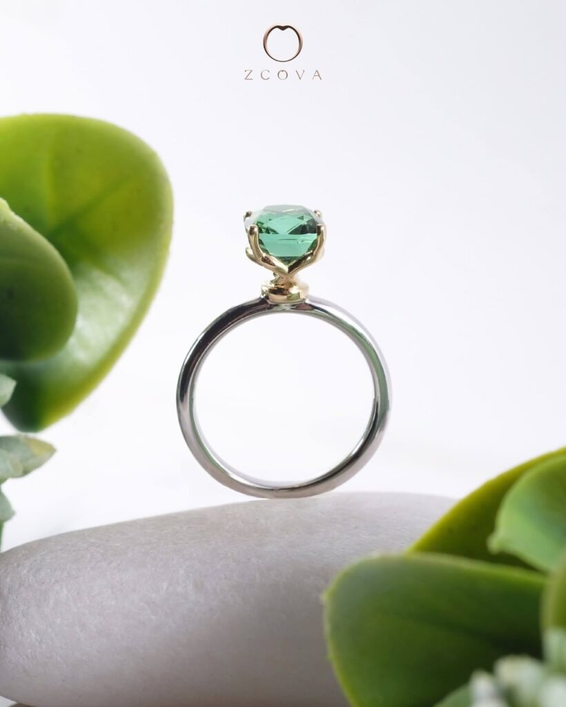Veronica 4 prong engagement ring with tourmaline