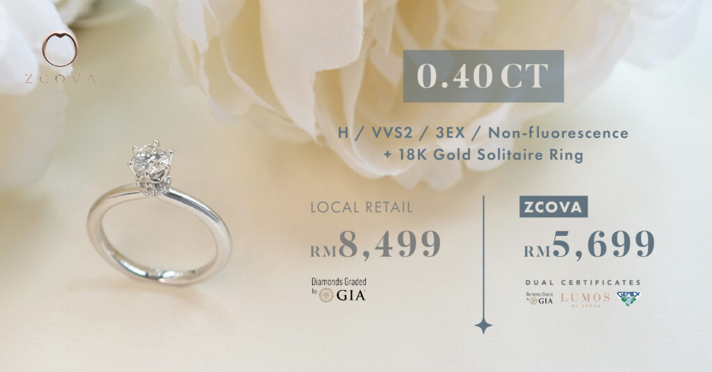 ZCOVA 0.4ct diamond price promotion online malaysia