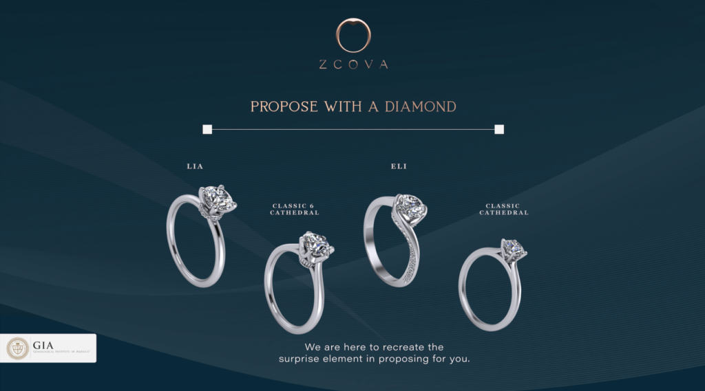 ZCOVA Propose With A Diamond RIng Settings
