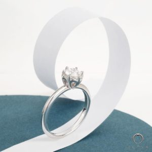 Crown Tulip Solitaire Engagement Ring