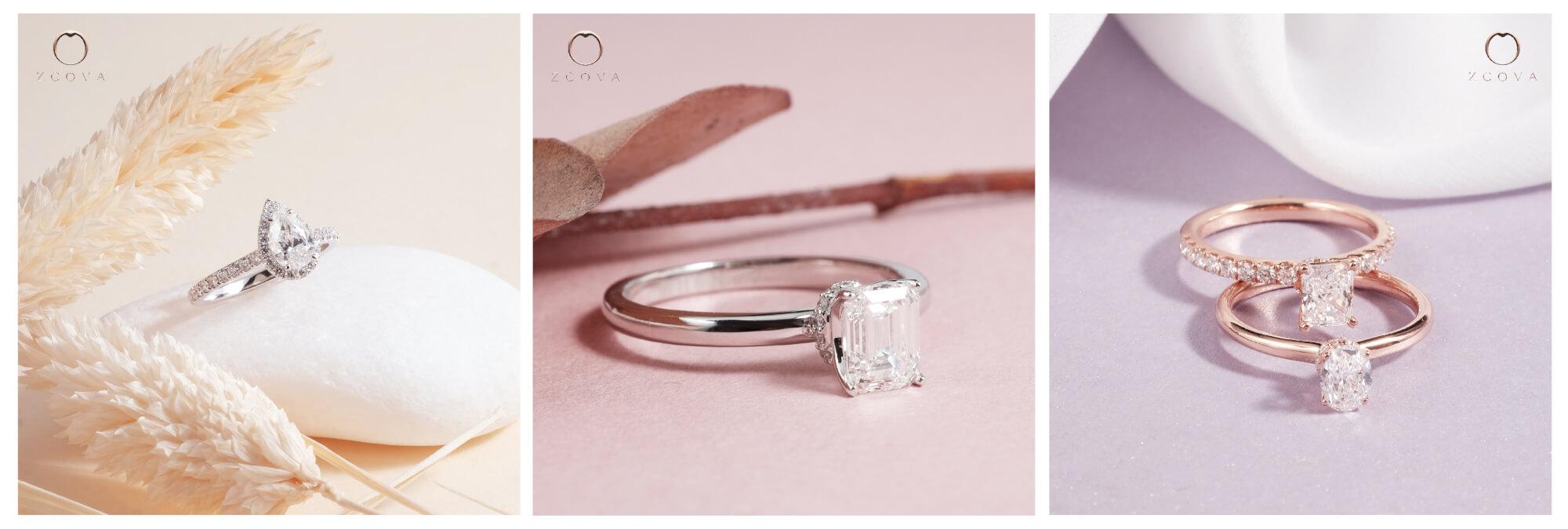 Fancy shaped diamond rings
