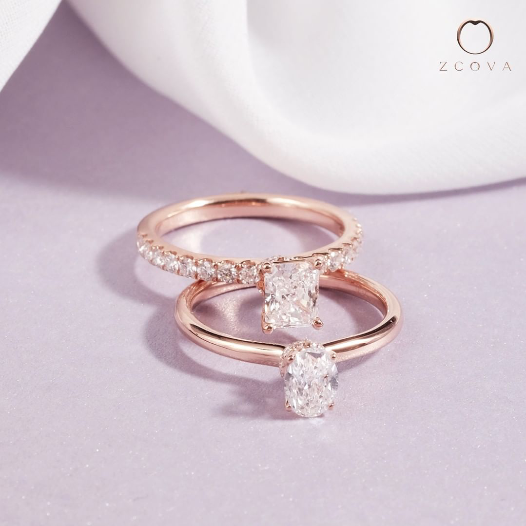 Lia engagement ring with radiant and oval diamond