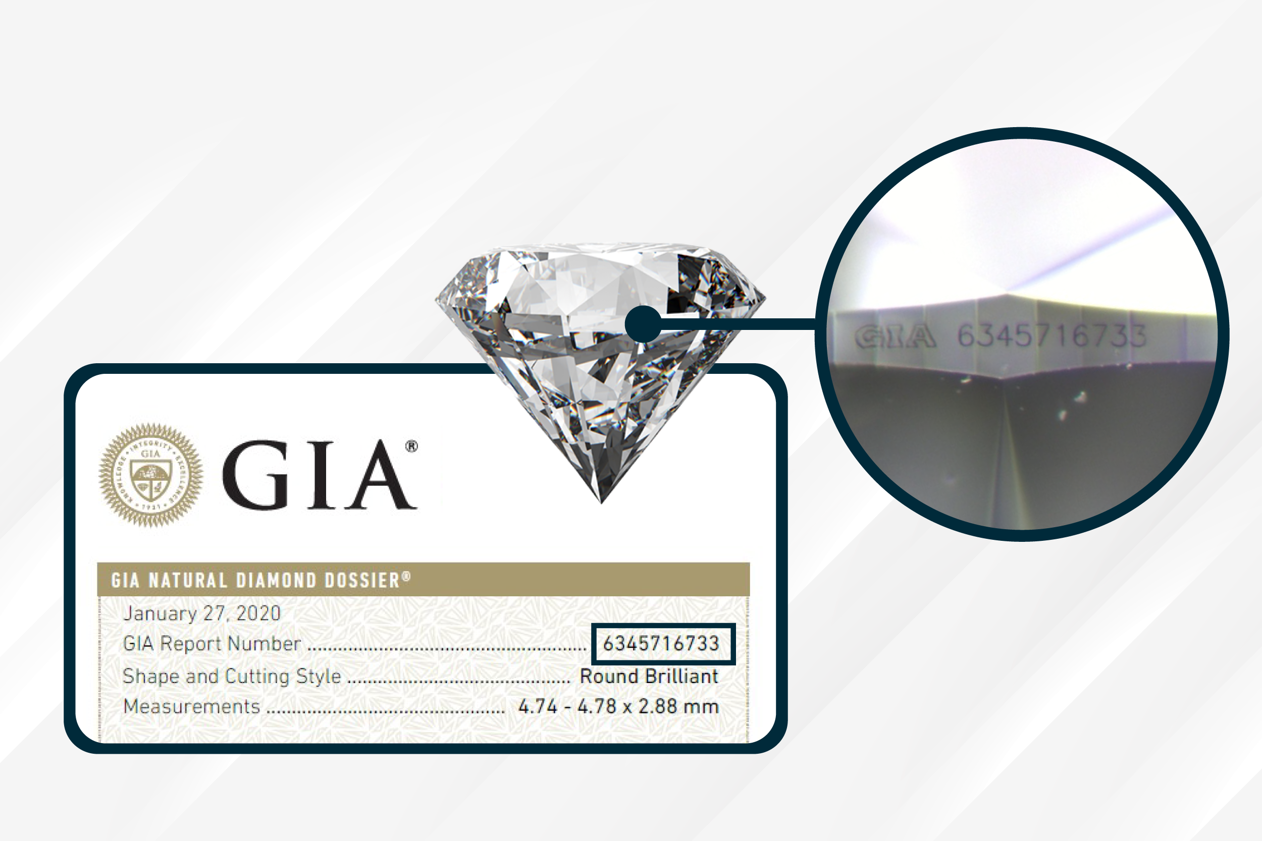 Diamond Inscription and GIA Cert