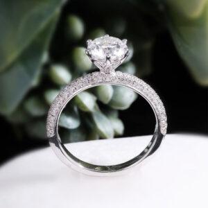 Triple row micro pave diamond engagement ring