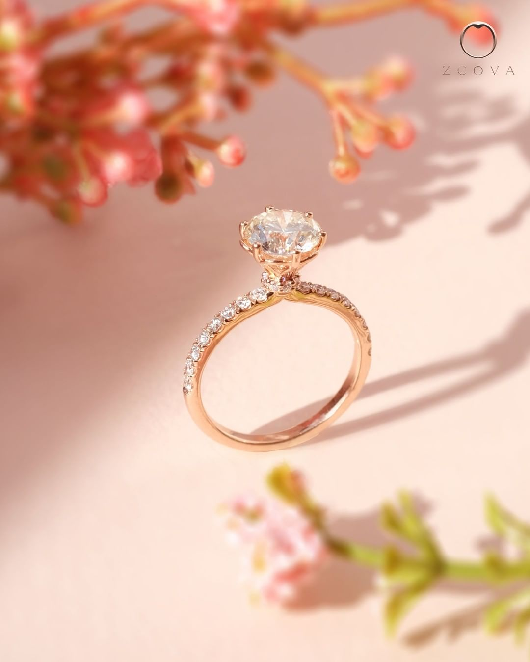 Jenri Pave Engagement Ring Rose Gold