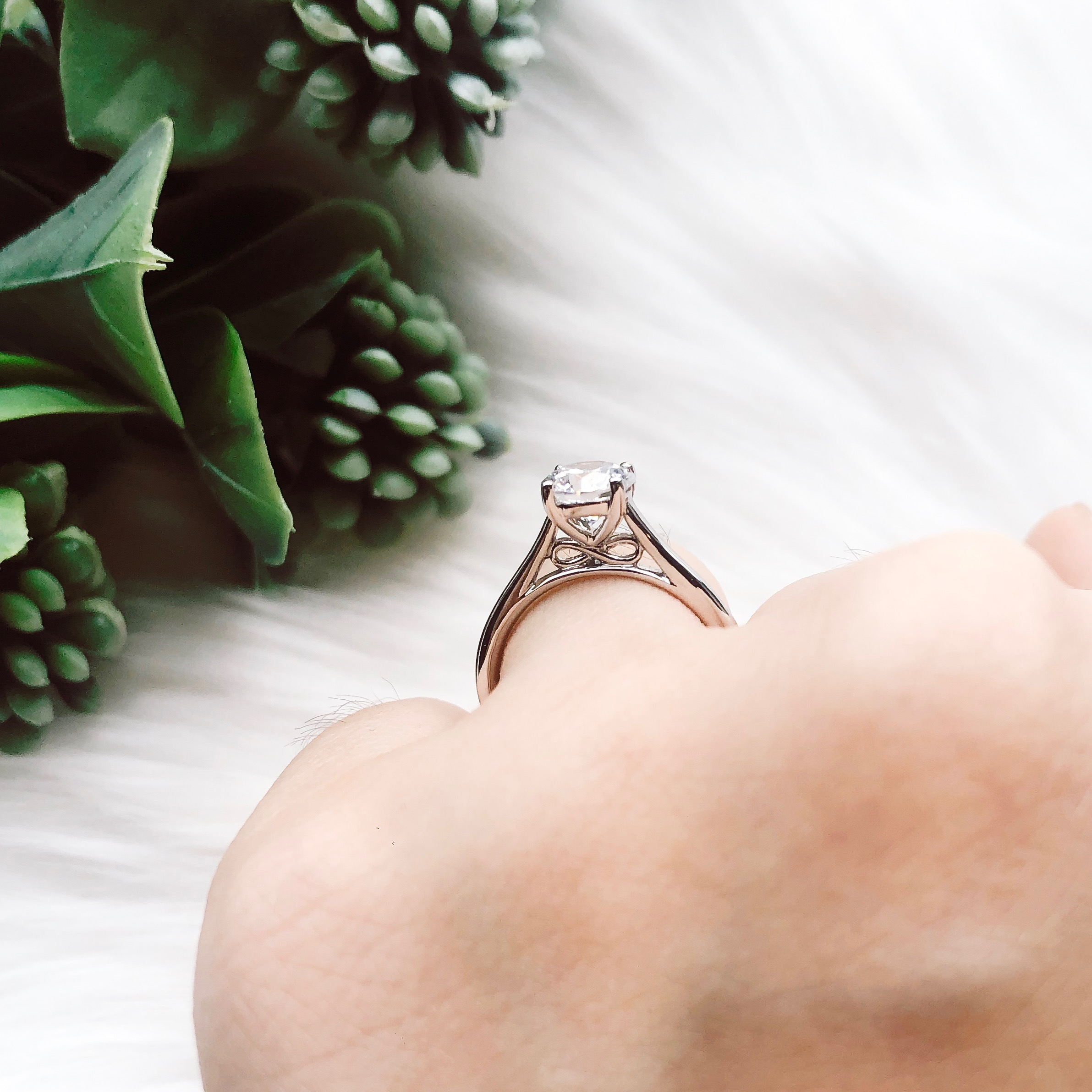 Hidden Infinity Engagement ring side view