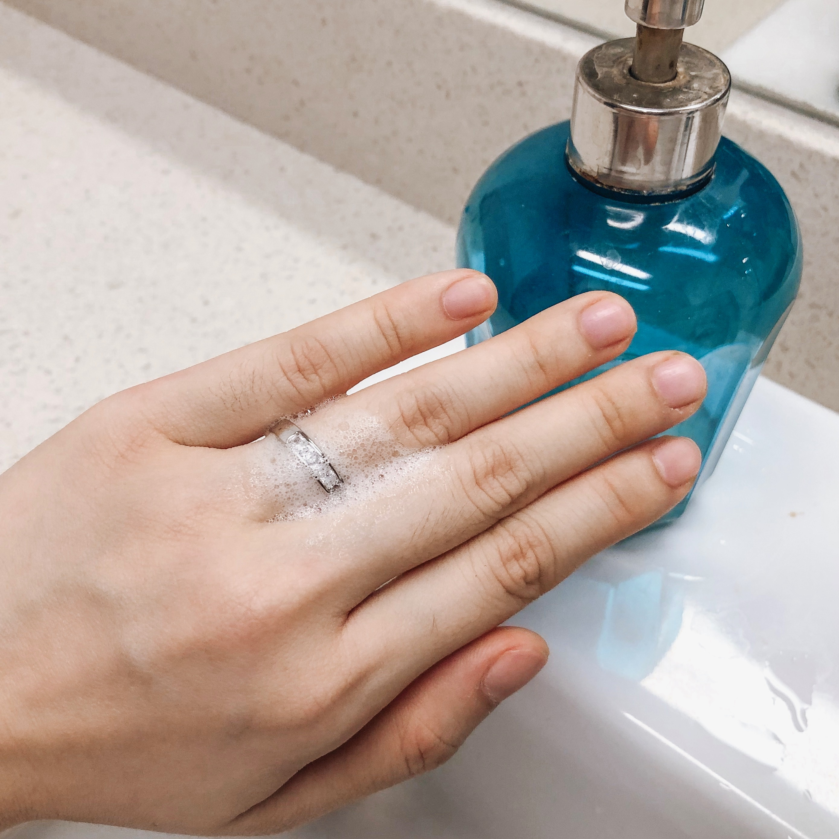 soap and water to remove stuck ring