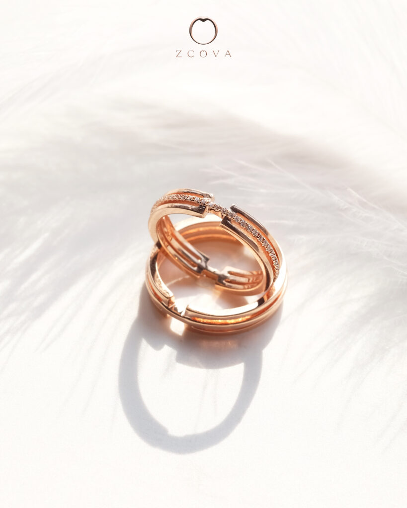 Leon wedding band for him and her in 18K rose gold
