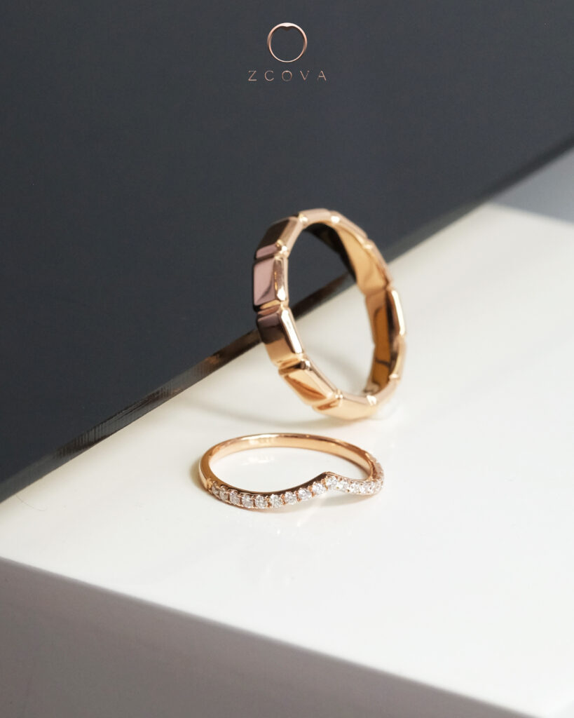 Salvio Band for Him and Half Eternity V Band for Her in 18K Rose Gold and Diamonds