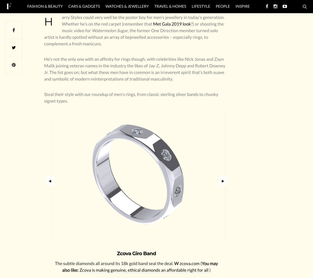 ZCOVA mens ring featured in Firstclasse