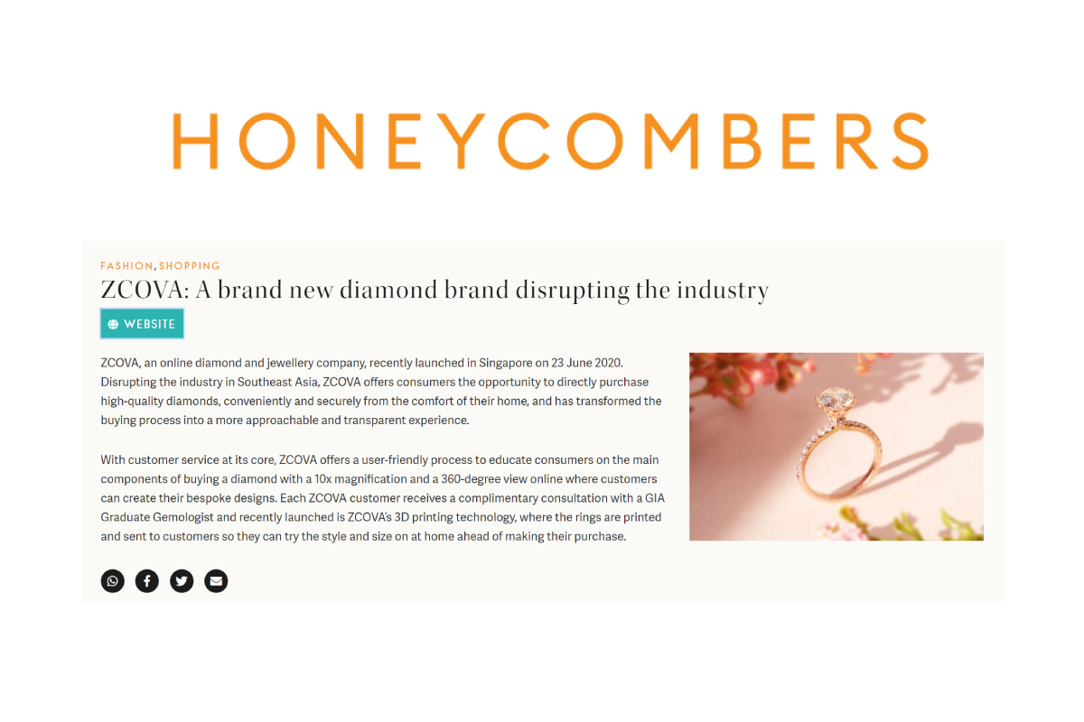 Zcova in honeycombers - purchasing diamond online in singapore