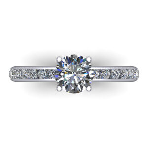 Diamond Engagement Ring with channel pave (closeup details)