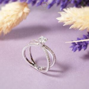 Crossed Shank pave diamond engagement ring