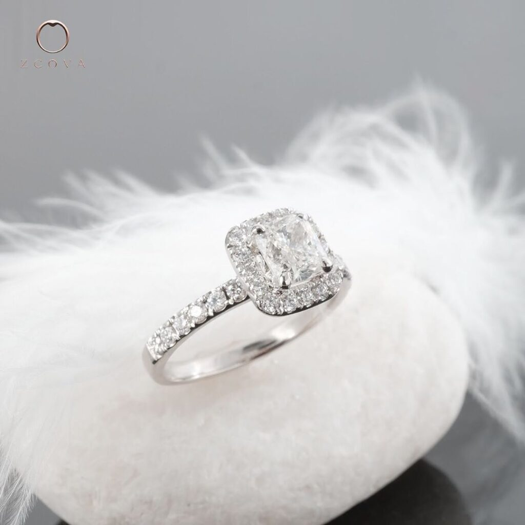 Cushion Shape Halo Ring