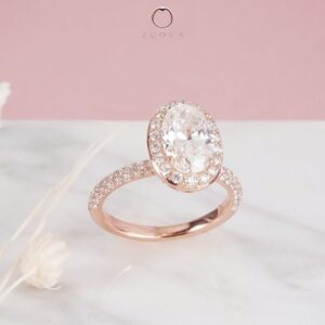 Triple row micro pave on oval engagement ring