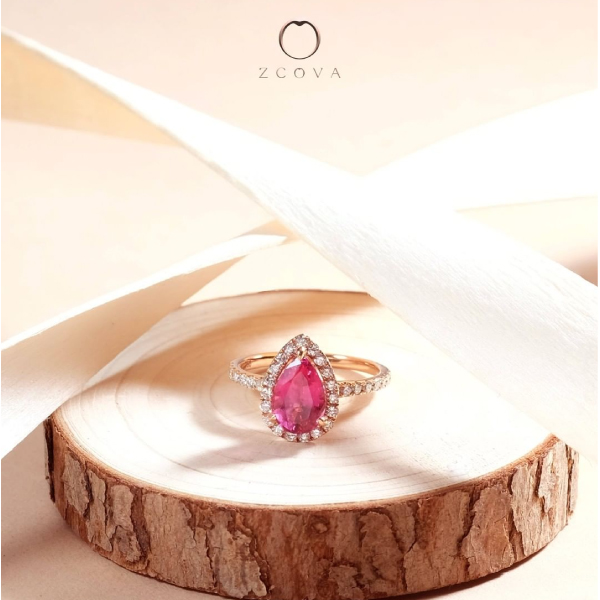 Pink Spinel Halo Gemstone Ring