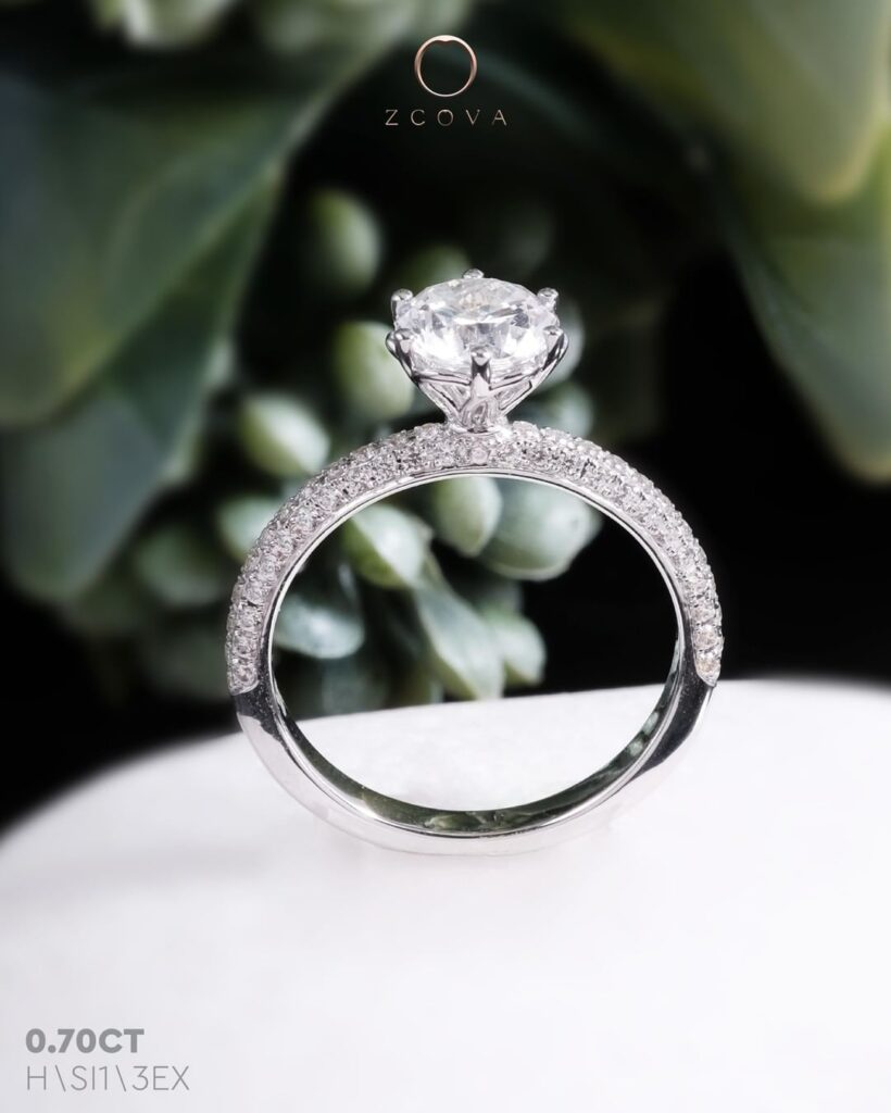 Triple Row Micro Pave Engagement Ring
