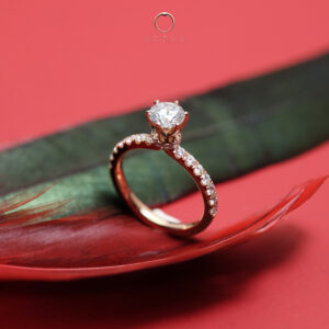 French Pave Diamond Engagement Ring