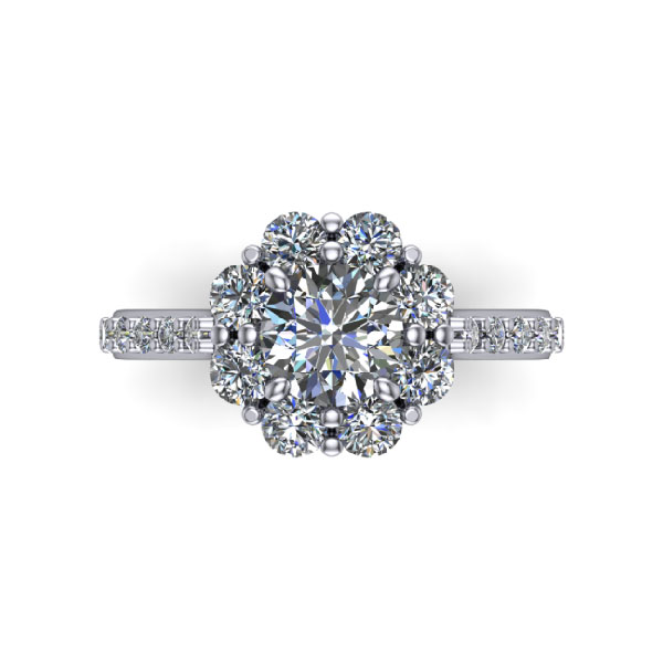 Floral Cathedral Halo Diamond Ring
