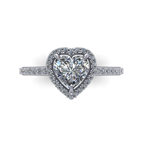 Classic Heart Shape Halo Ring