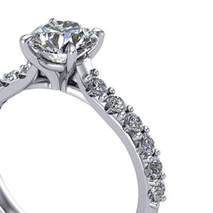 Shared Prong pave diamond engagement ring