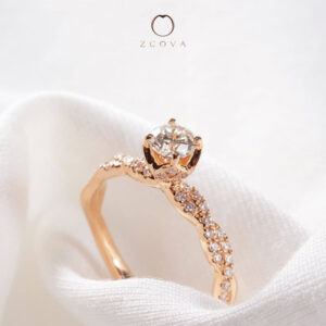Twisted Pave Diamond Engagement Ring in Rose Gold