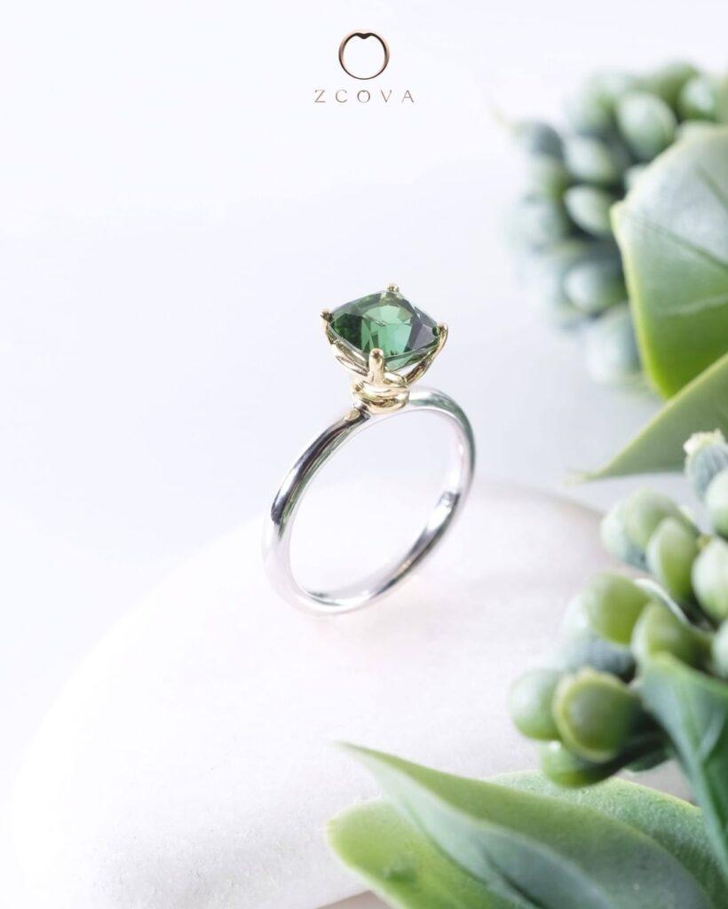 Blue-Green Tourmaline Engagement Ring - green gemstone ring