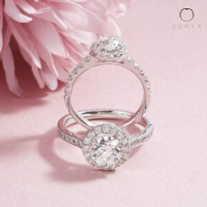 ZCOVA Cathedral Halo Pave Engagement Ring