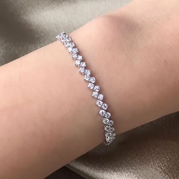 double row diamond tennis bracelet in 18K White Gold