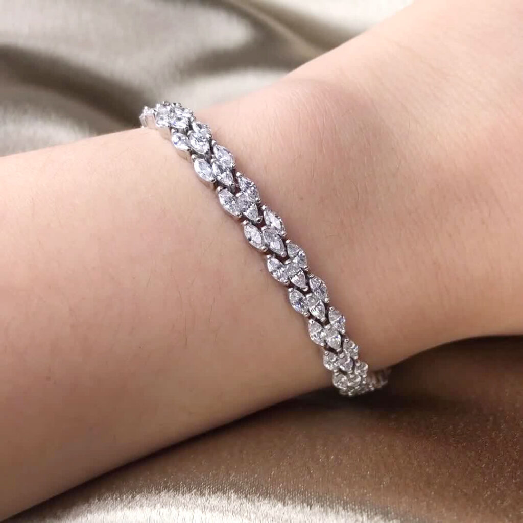 three row marquise diamond tennis bracelet in Malaysia