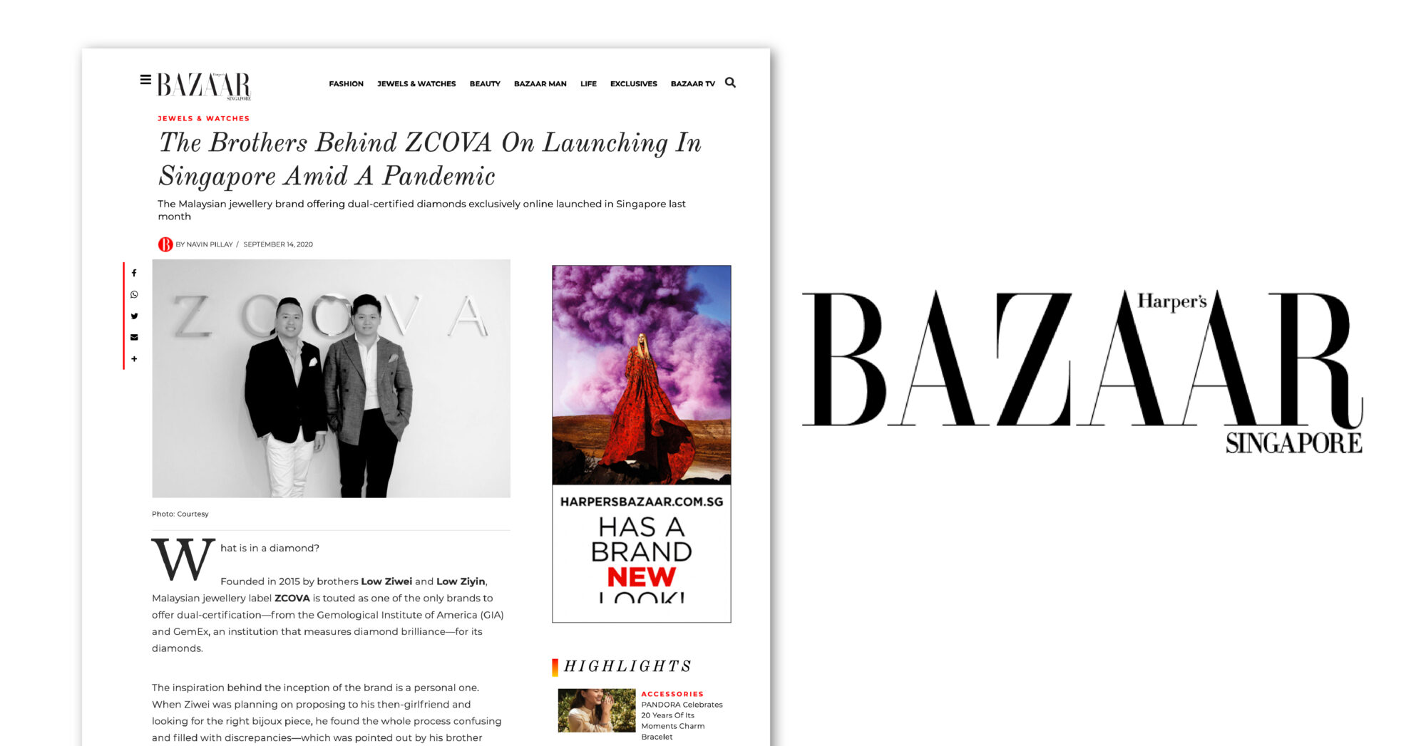 ZCOVA featured in Harpers Bazaar