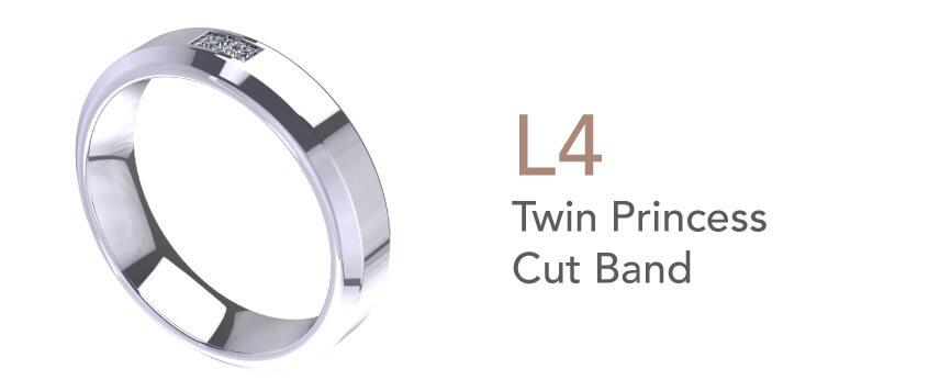 Cincin Tunang dan Nikah-Twin Princess Cut Band