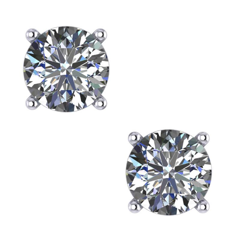 Round Brilliant Diamond stud earring setting present gifting