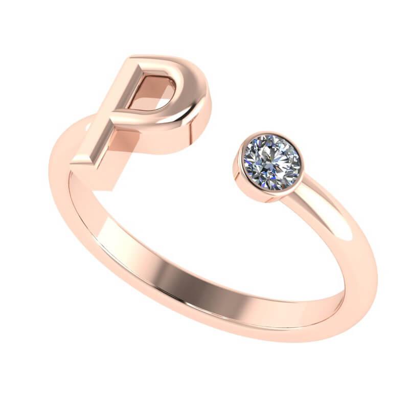 18K rose gold ring fashion alphabet customise present gifting