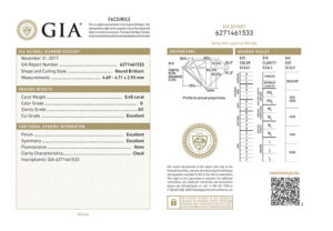 Sample natural diamonds report from GIA