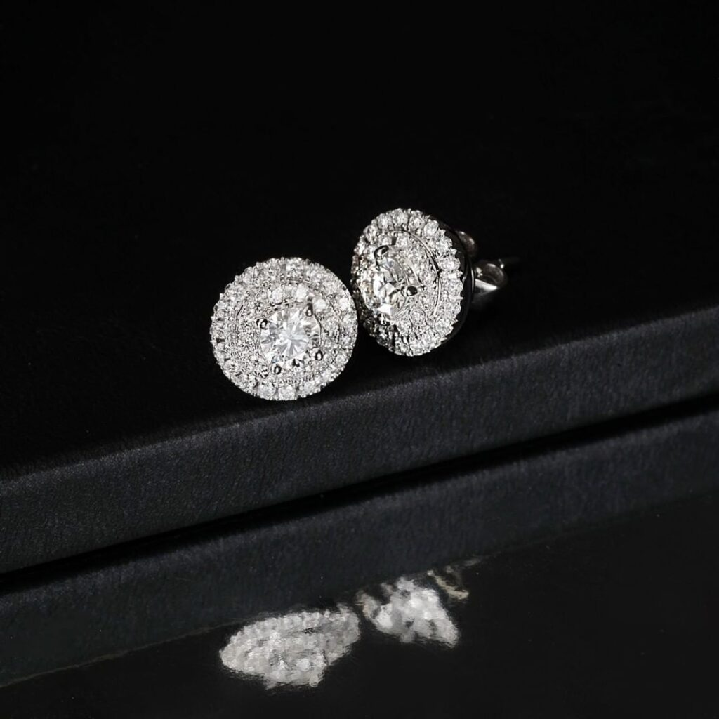 Double Halo Earring Stud