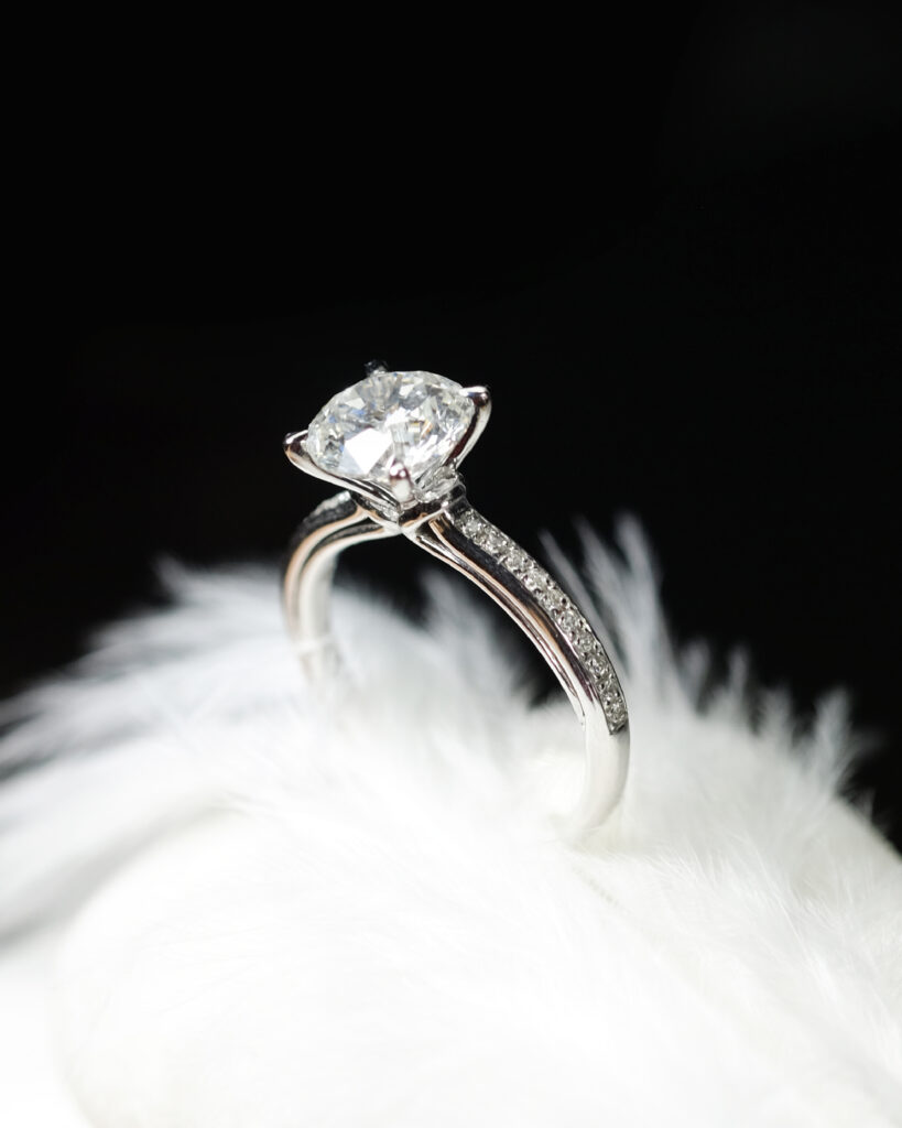 Petite Pave Ribbon Shank Engagement Ring