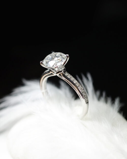 Petite Pave Ribbon Shank Engagement Ring