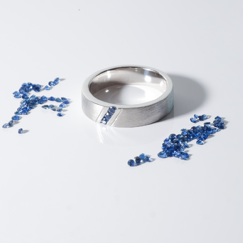 Blue Sapphire Wedding Ring Wedding Band in 18K White Gold Malaysia