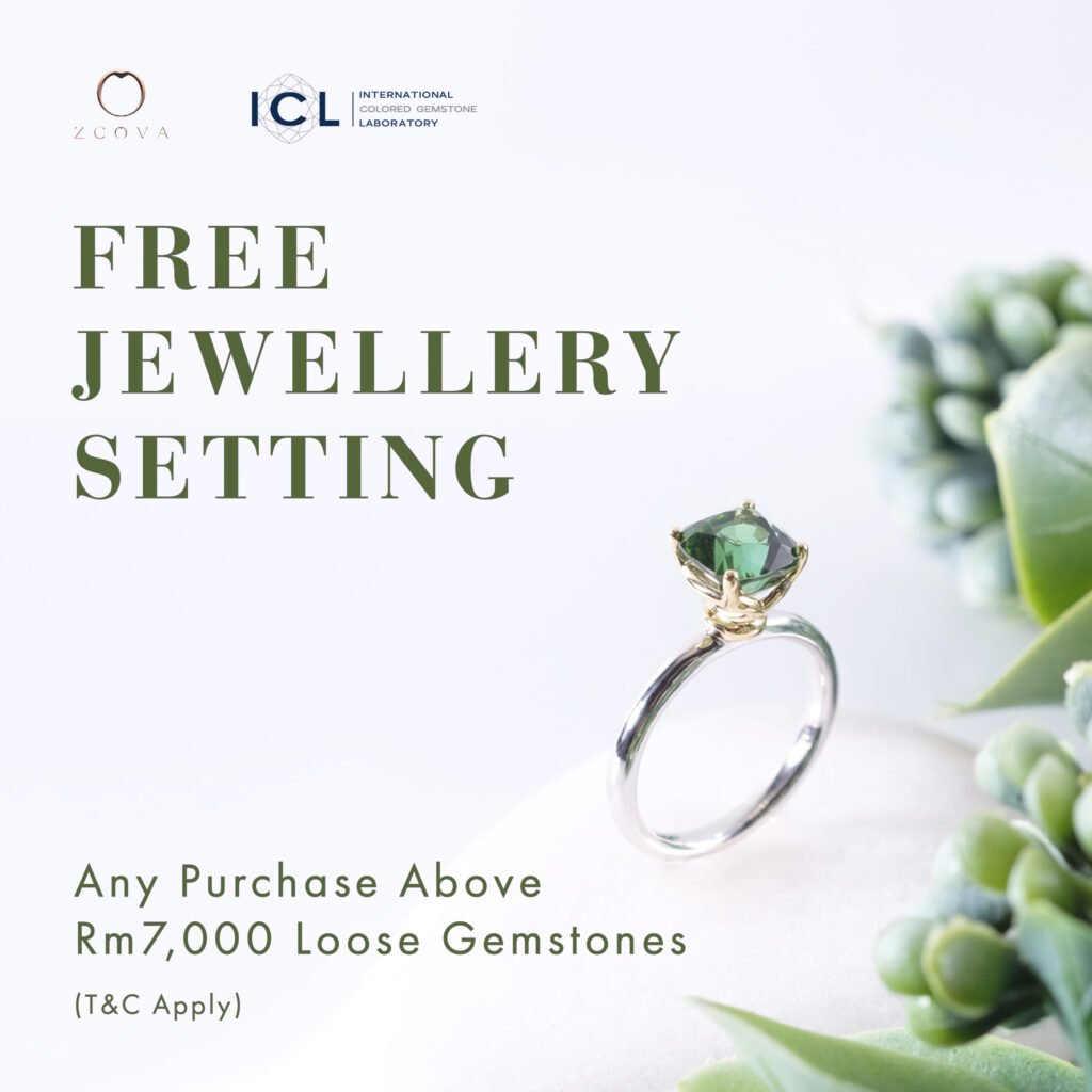 gemstone promotion with free 18k gold solitaire setting