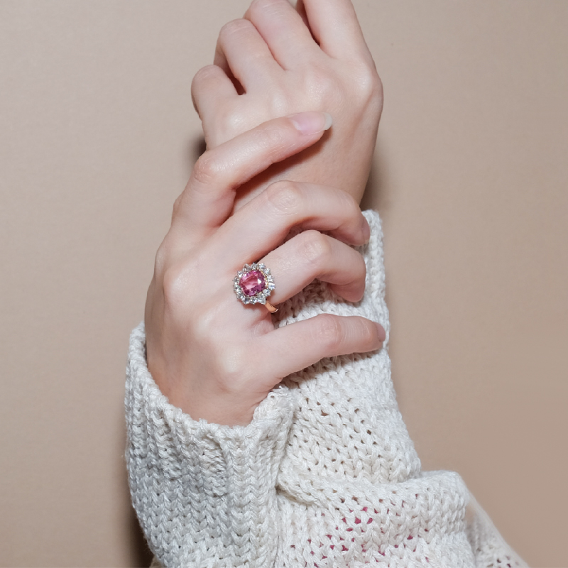 Pink Sapphire Ring Halo Diamond in 18k Rose Gold Malaysia