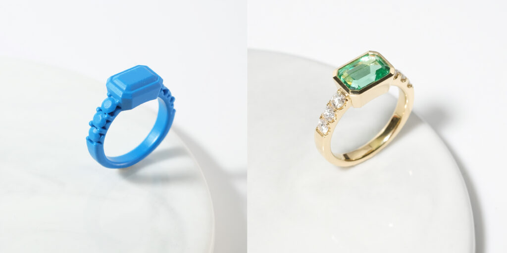 3D Print Emerald ring ZCOVA