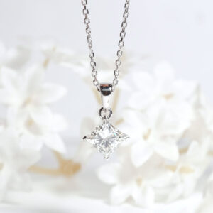 ZCOVA GIA princess shape diamond pendant necklace 1.5CT