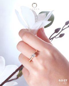 ZCOVA GIA princess shape diamond ring