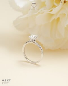 ZCOVA GIA princess shape diamond ring in vintage white gold setting