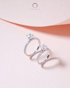 ZCOVA GIA cushion shape diamond pave ring (square vs elongated cushion)