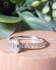 ZCOVA GIA emerald shape diamond hidden halo pave white gold ring malaysia