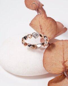ZCOVA GIA heart shape diamond white and rose gold wedding band